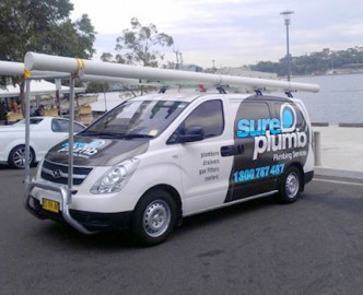 sureplumb emergency van out on a worksite - Plumber Wollongong